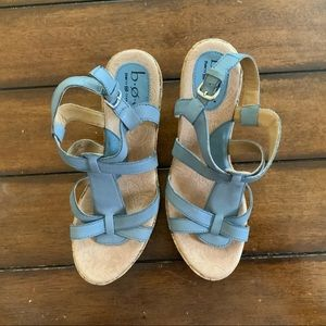 BOC born concepts blue leather wedge sanda…